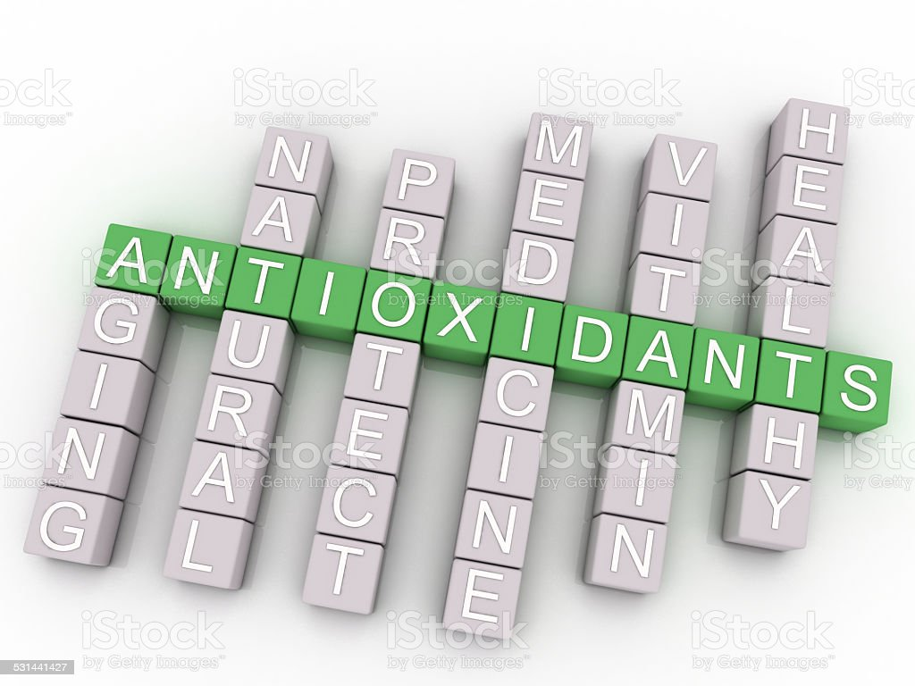 3d image Antioxidants issues concept word cloud background stock photo
