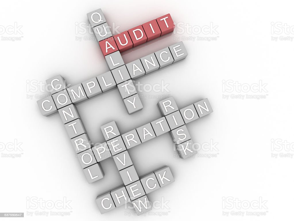 3d image Audit issues concept word cloud background stock photo
