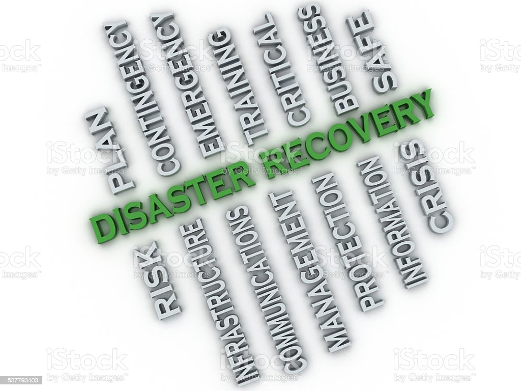 3d image Disaster recovery  issues concept word cloud background stock photo