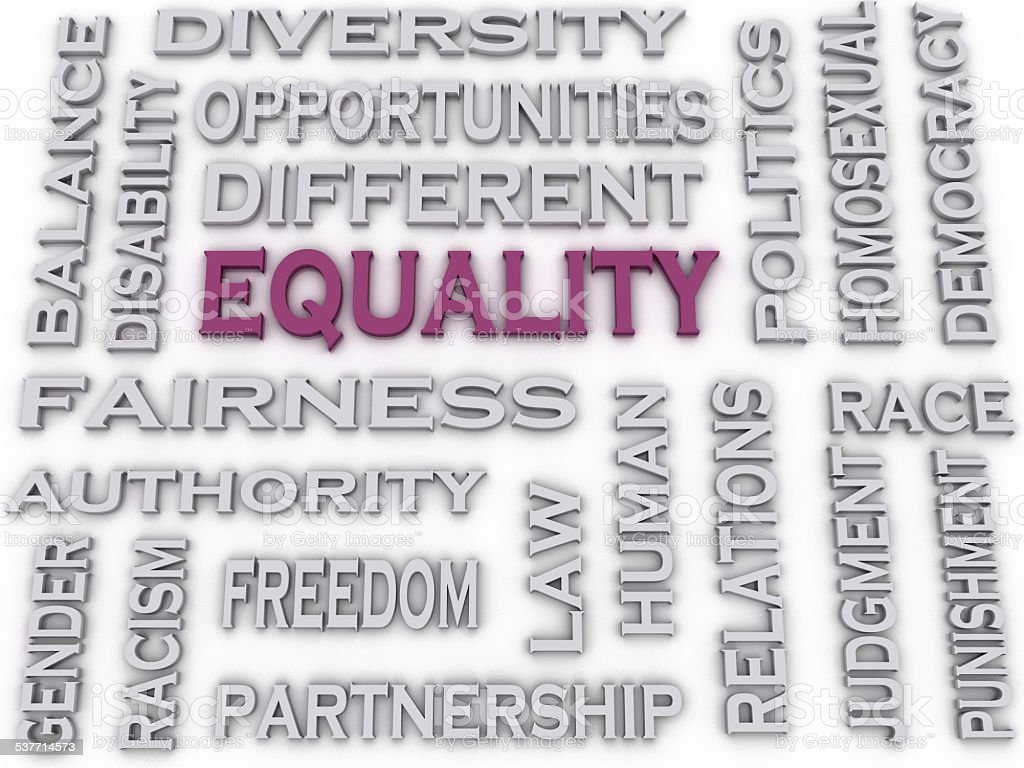 3d image Equality issues concept word cloud background stock photo