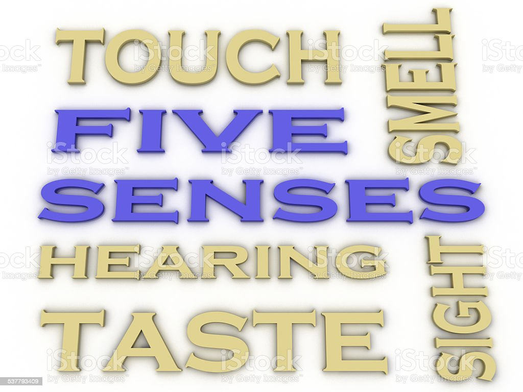 3d image Five senses  issues concept word cloud background stock photo