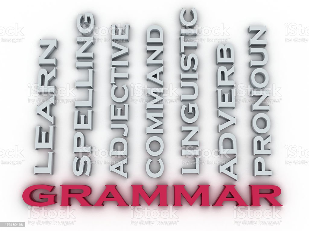 3d image Grammar  issues concept word cloud background. Learning stock photo