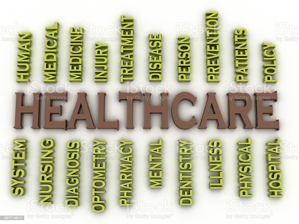 3d image Healthcare issues concept word cloud background stock photo