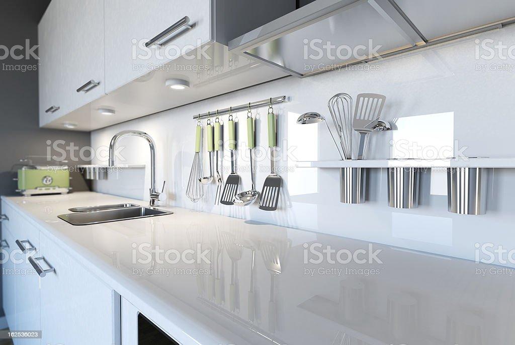 3d image of a modern white kitchen clean interior design stock photo
