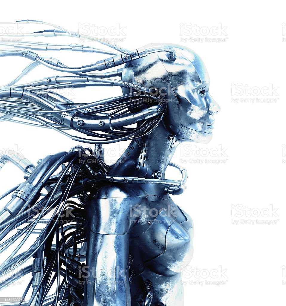 3d image of a surreal robot with wires stock photo