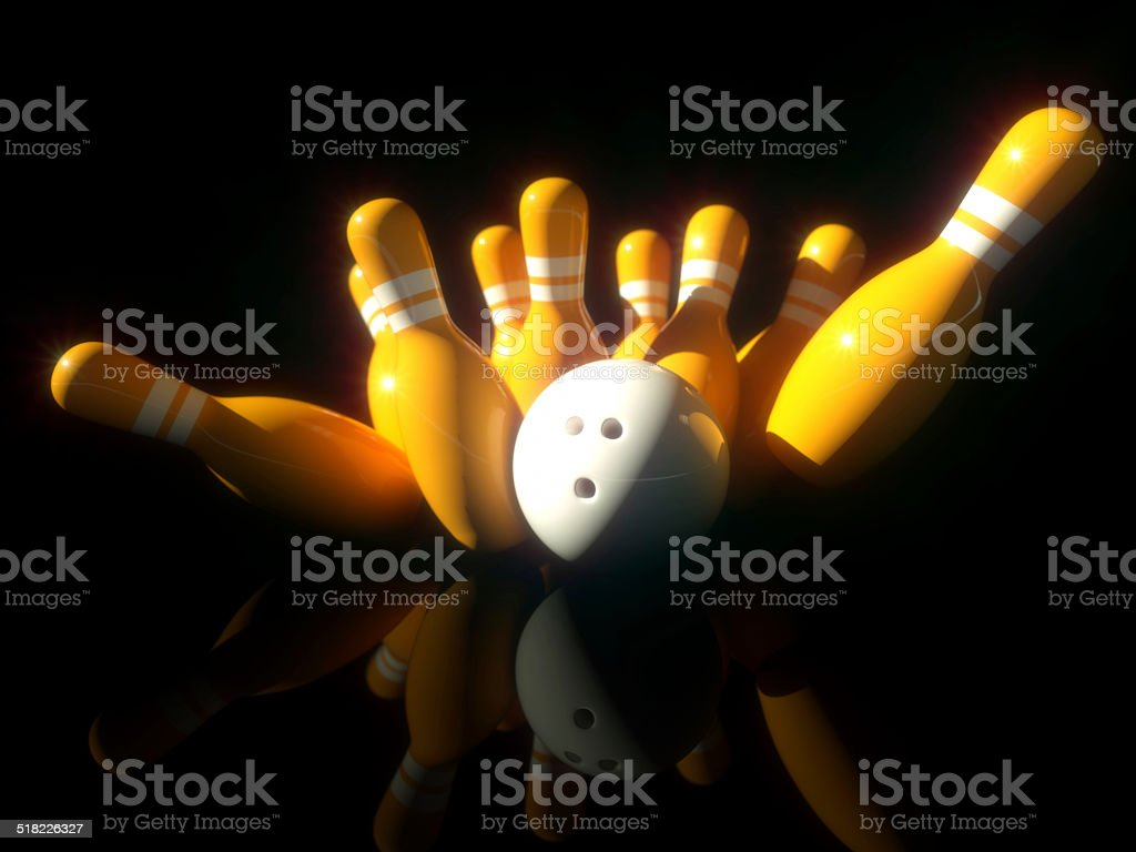 3d Image of bowling scene with ground reflections royalty-free stock photo