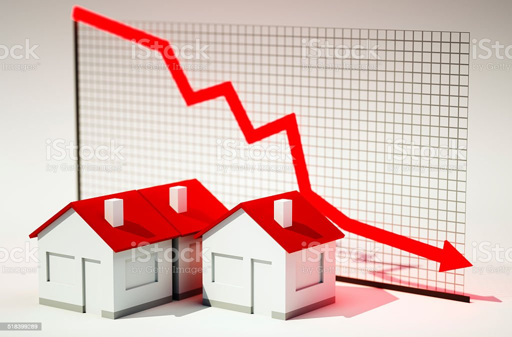 3d image of house with graph falling stock photo
