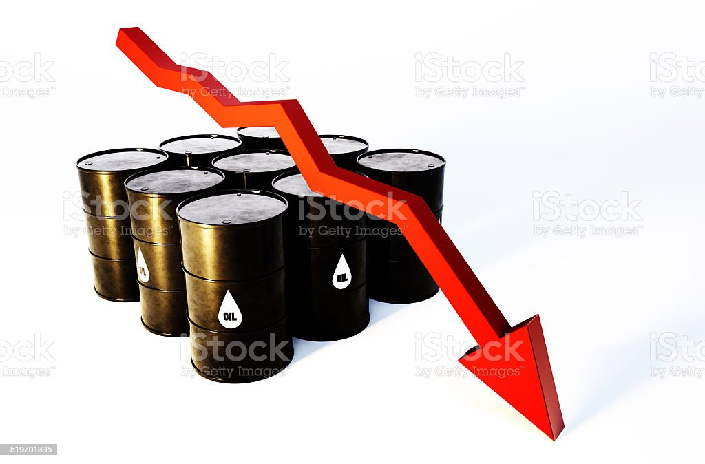 3d image of oil barrels with graph falling stock photo