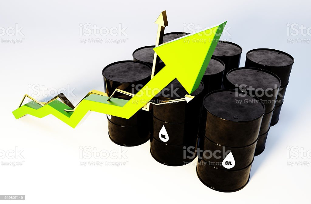 3d image of oil barrels with graph growing stock photo