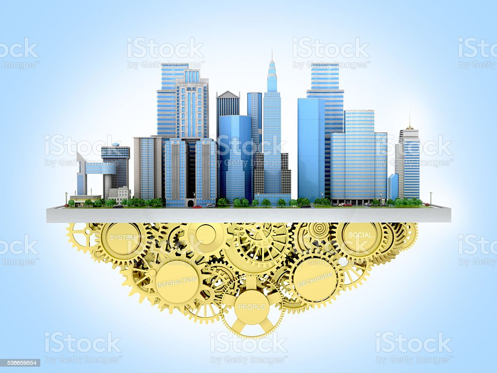 3d image of the city to stand with gears. stock photo