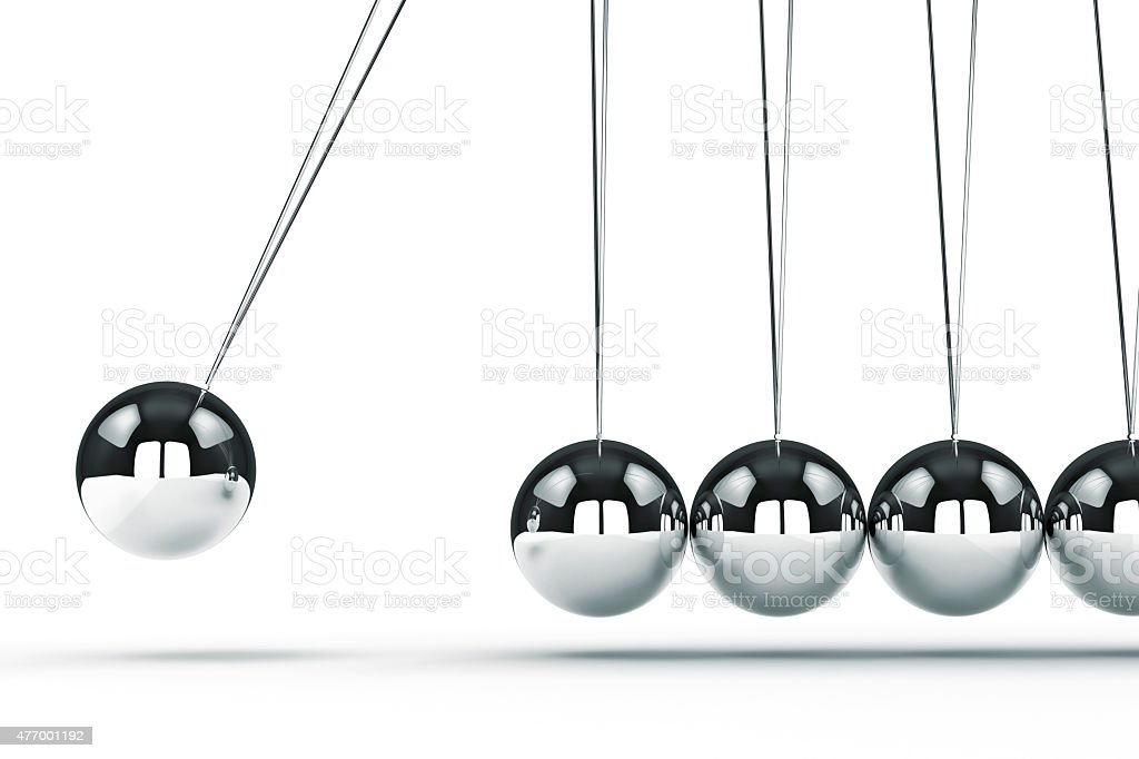 3d image render of newton's cradle on white background vector art illustration