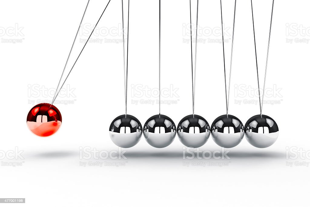 3d image render of newton's cradle on white background stock photo