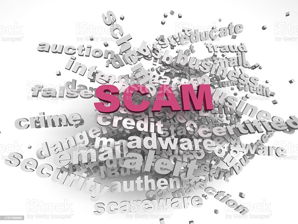 3d image Scam issues concept word cloud background stock photo