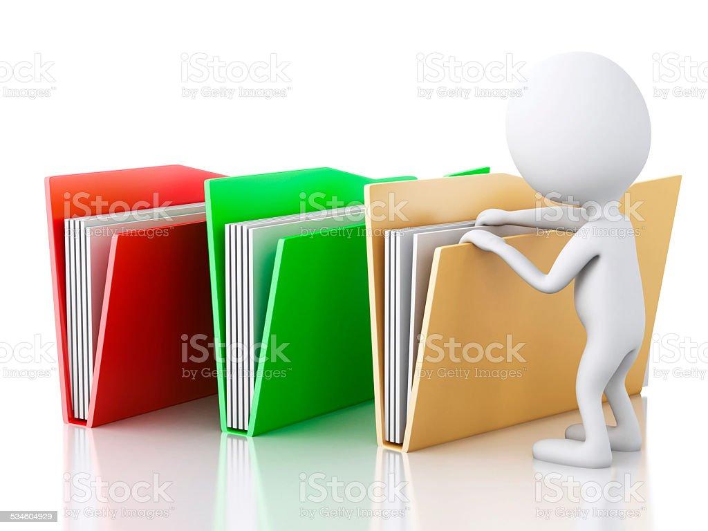 3d image. White people examines folders. stock photo