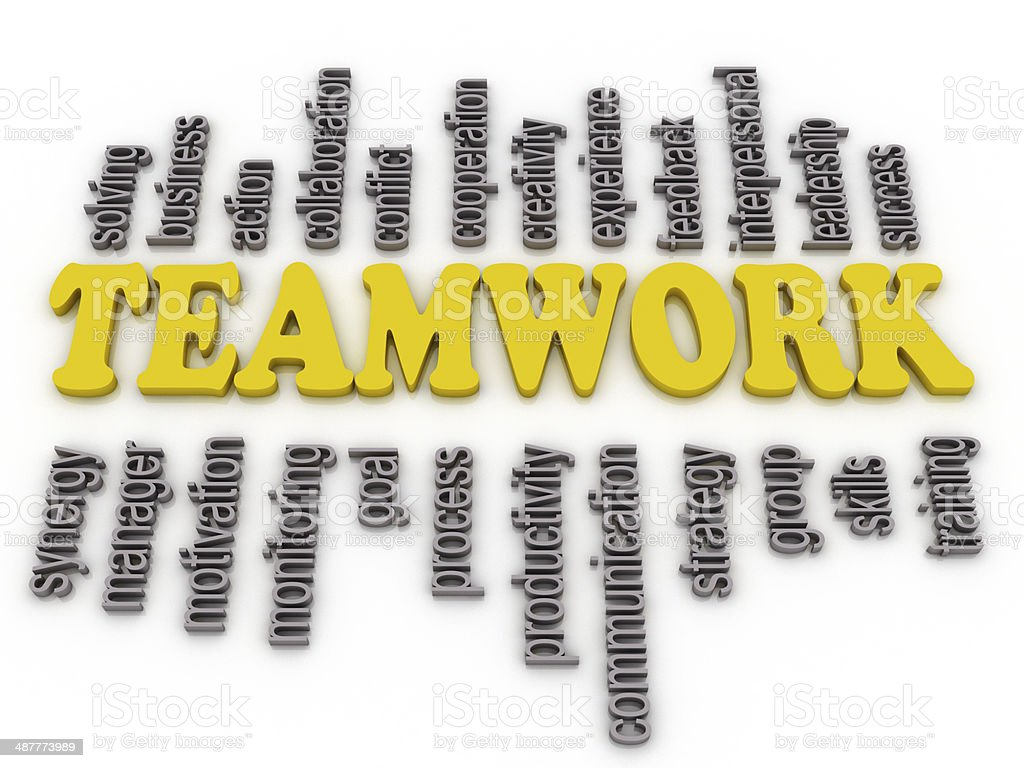 3d imagen a word cloud of teamwork related items stock photo
