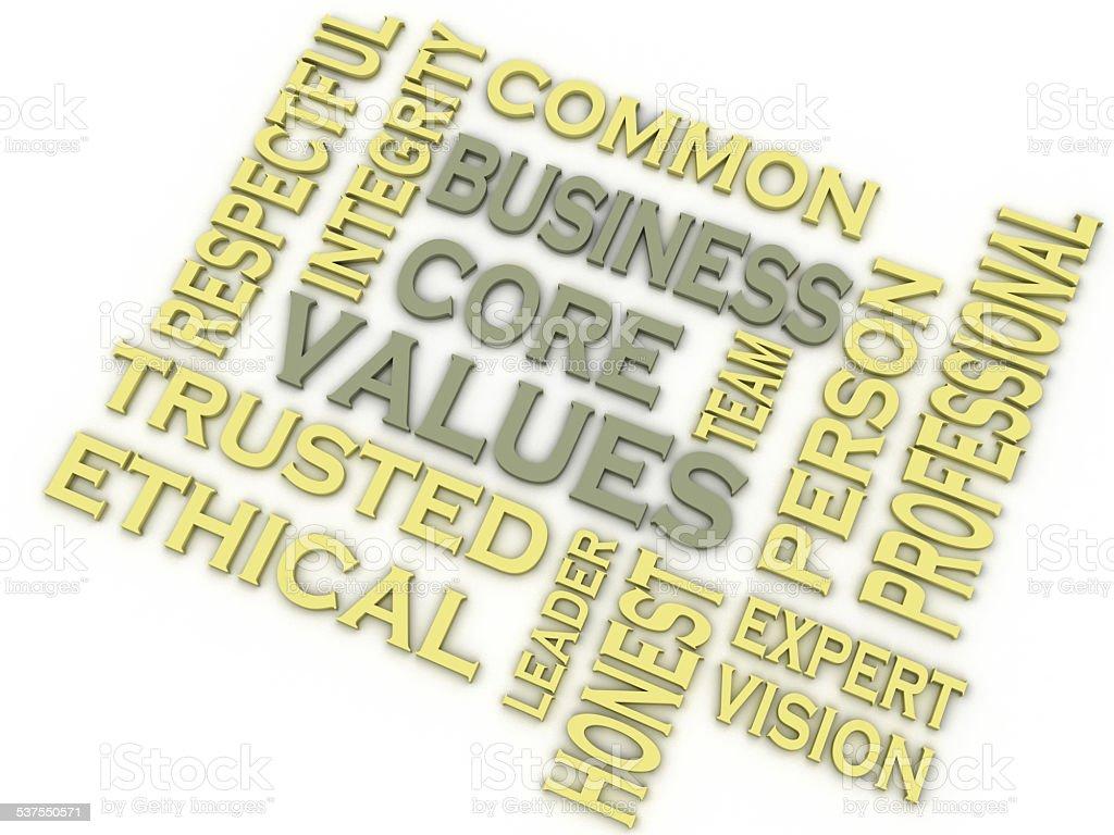 3d imagen Business core values  issues concept word cloud backgr stock photo