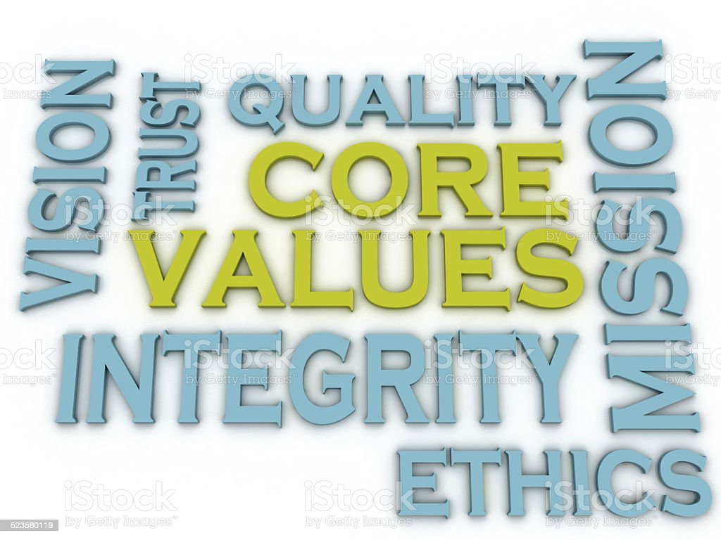 3d imagen Core values issues and concepts word cloud background stock photo