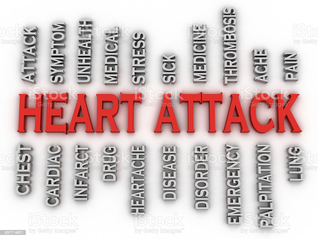 3d imagen heart attack   issues concept word cloud background stock photo