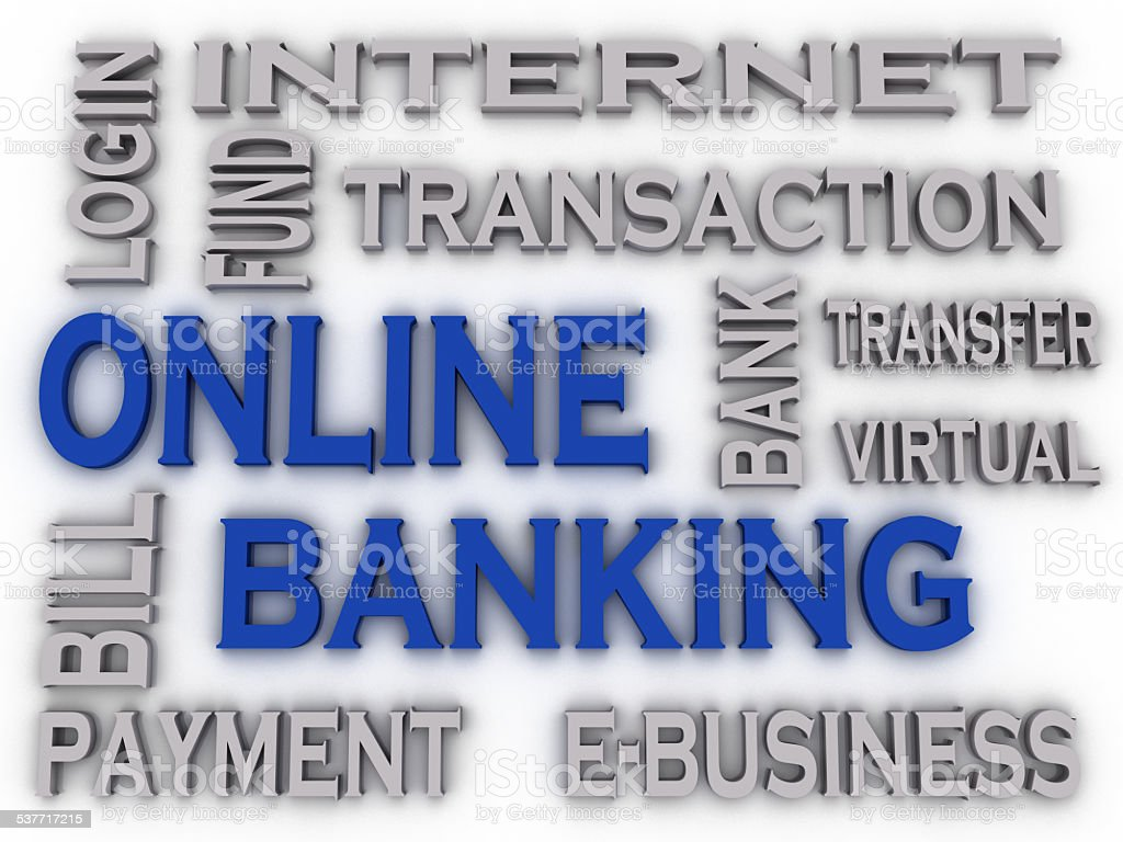 3d imagen Online Banking  issues concept word cloud background stock photo