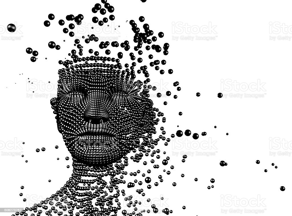 3d image,woman composed of balls. Artificial intelligence concept stock photo