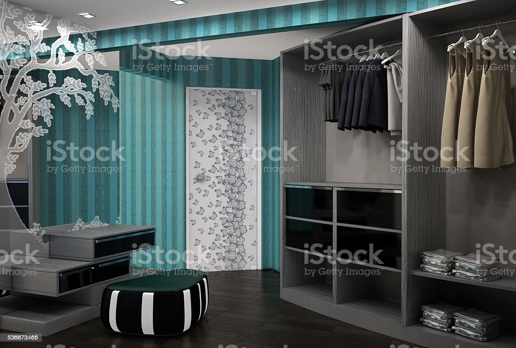 3d interior design wardrobe stock photo