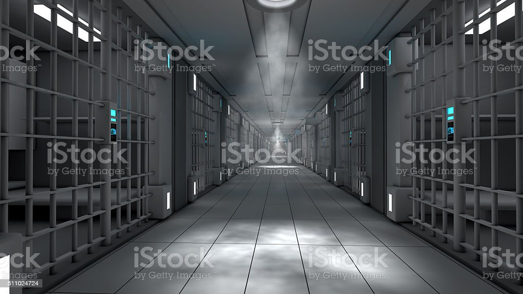 3d interior jail corridor stock photo