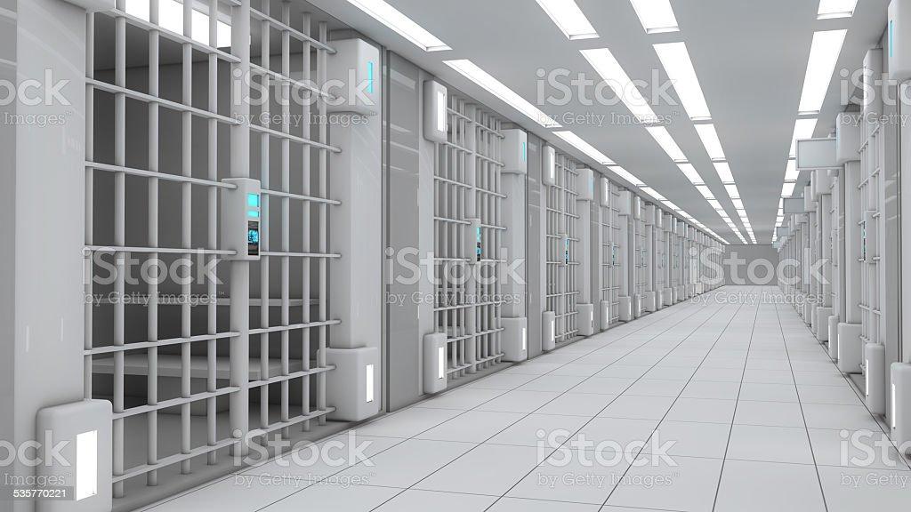 3d interior Jail stock photo