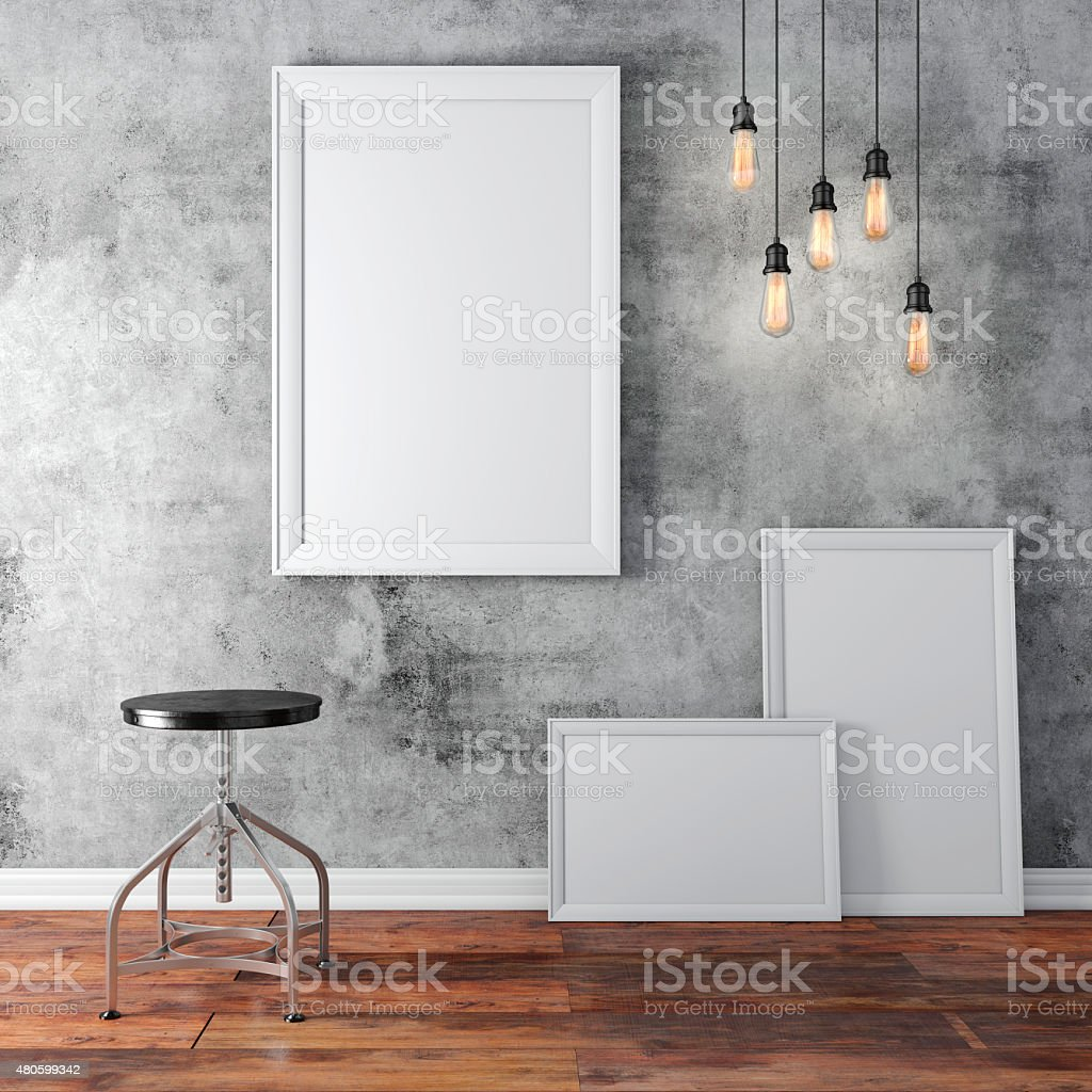 3d interior  with a blank frames and wooden floor stock photo