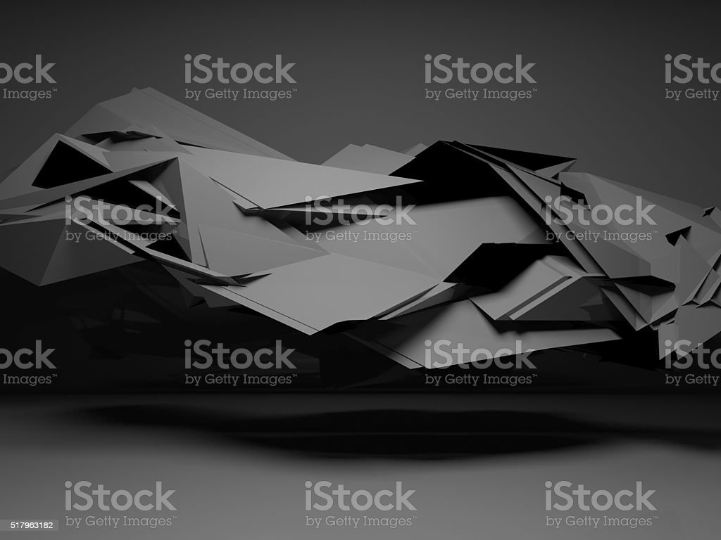 3d  interior with chaotic polygonal structure stock photo