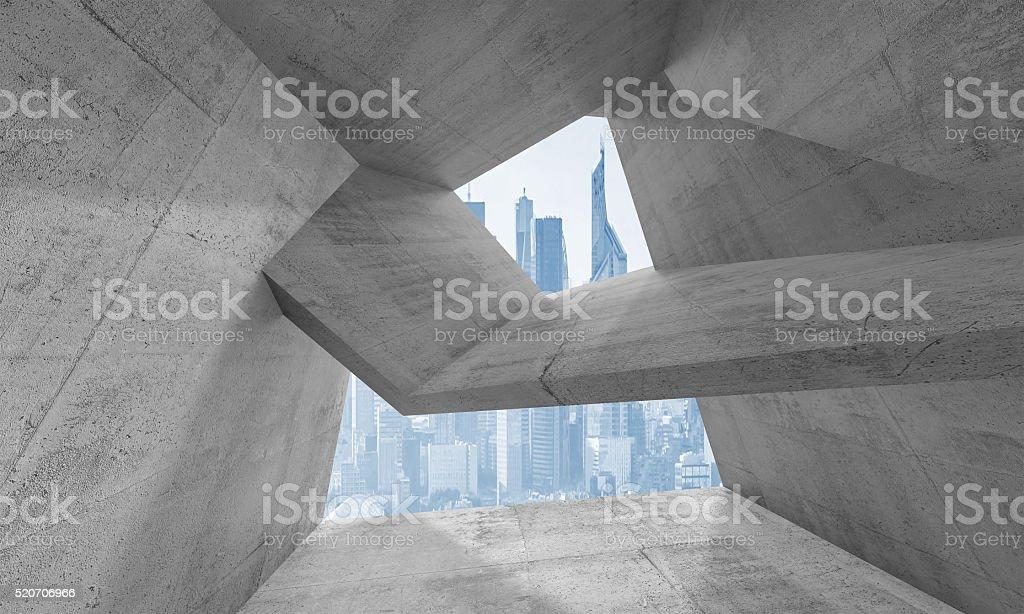 3d interior with futuristic cityscape outside stock photo