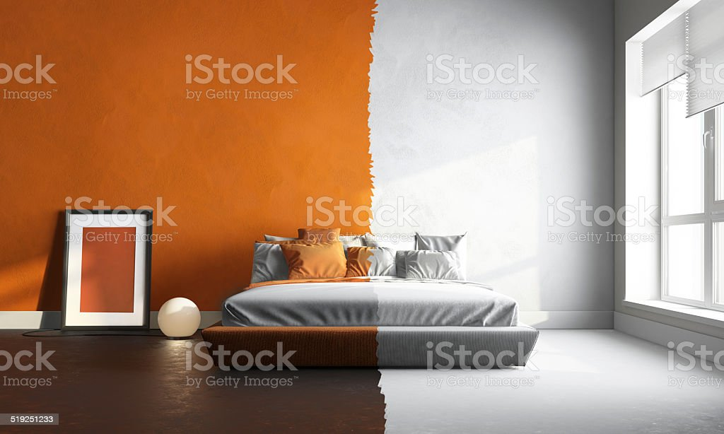 3d interor of orange-white bedroom stock photo