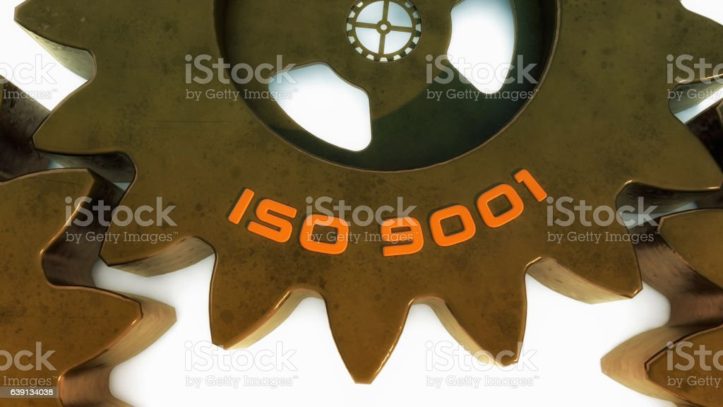 3d ISO 9001 and gear stock photo