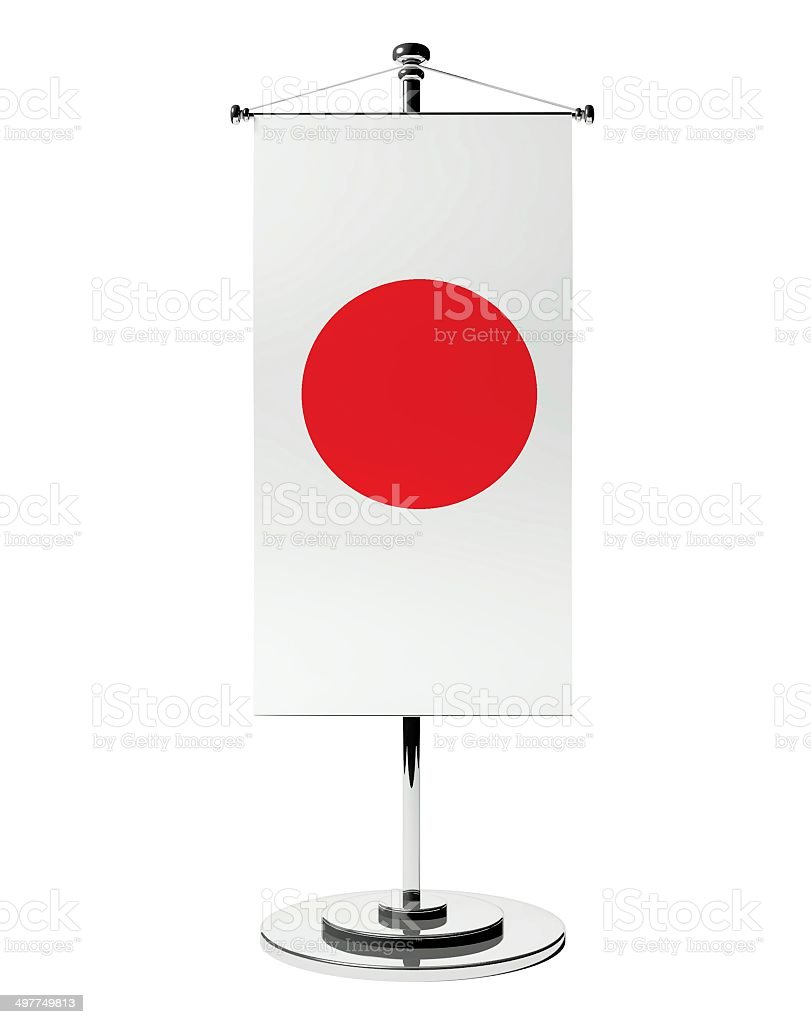 3d Japanese table flag isolated white stock photo