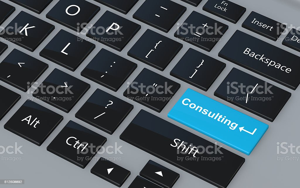 3d keyboard with word consulting stock photo