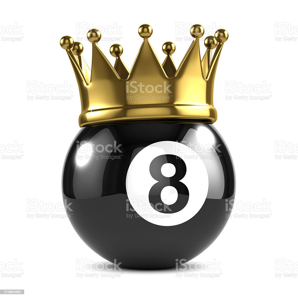 3d King 8 ball wears a gold crown stock photo
