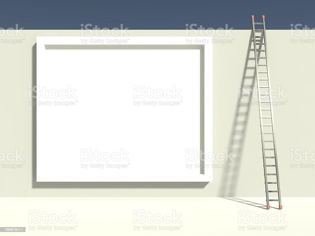 3d ladder of success with empty billboard royalty-free stock photo