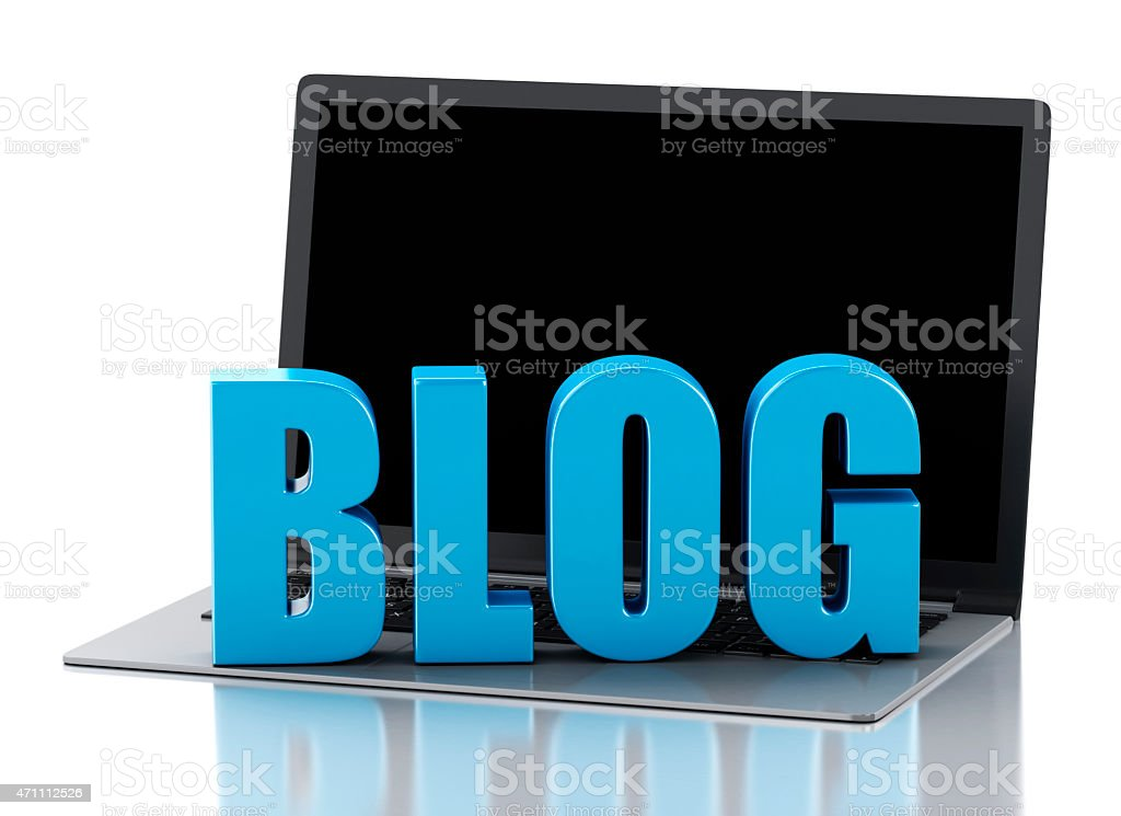 3d Laptop and blog sign. News concept stock photo