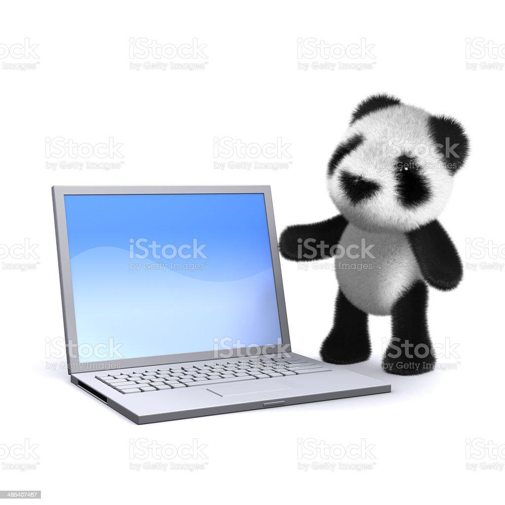 3d Laptop panda stock photo