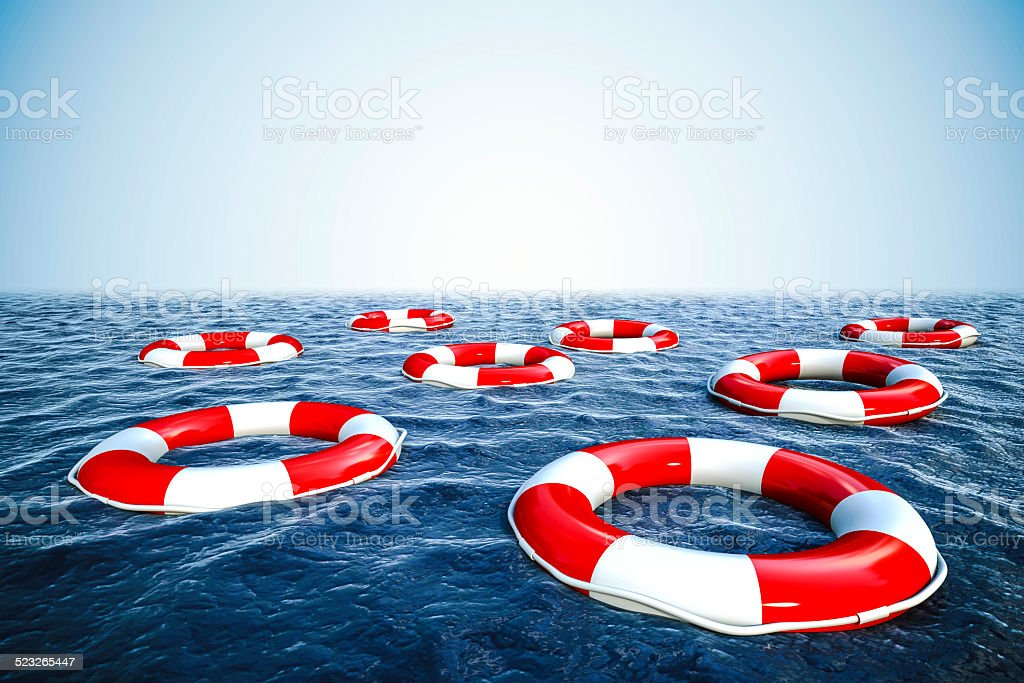 3d life buoy and ocean with blue sky background stock photo