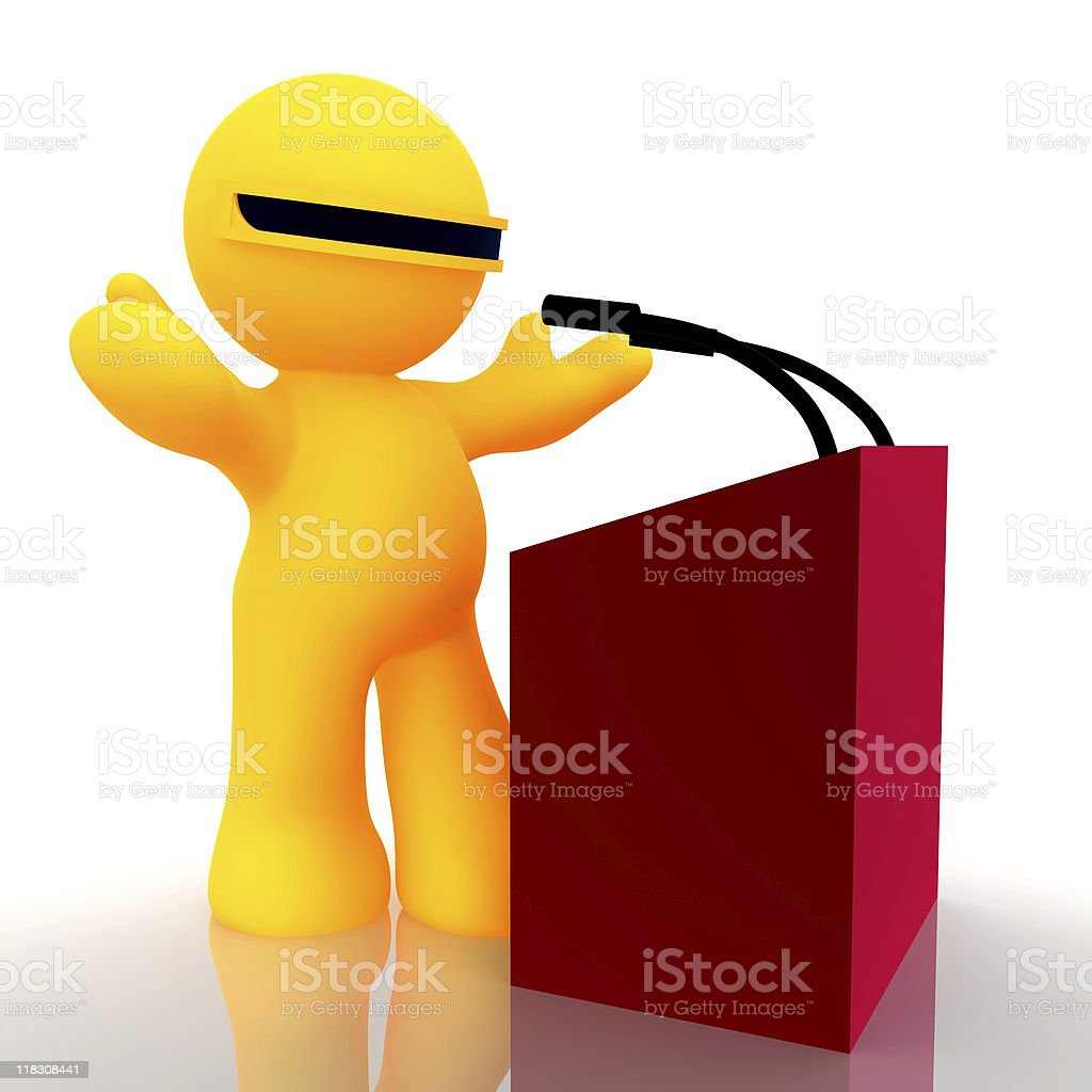 3d Little fellow icon on press conference speech royalty-free stock photo