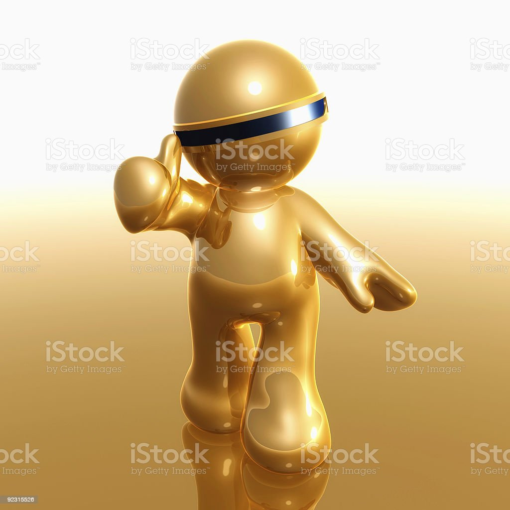 3d little icon on thumbs up pose royalty-free stock photo
