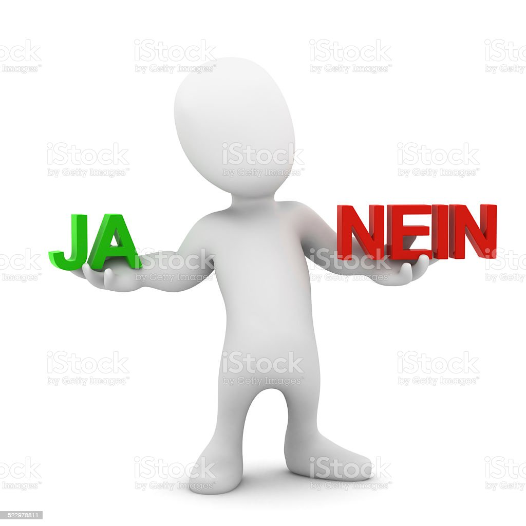 3d Little man decides Ja or Nein! stock photo
