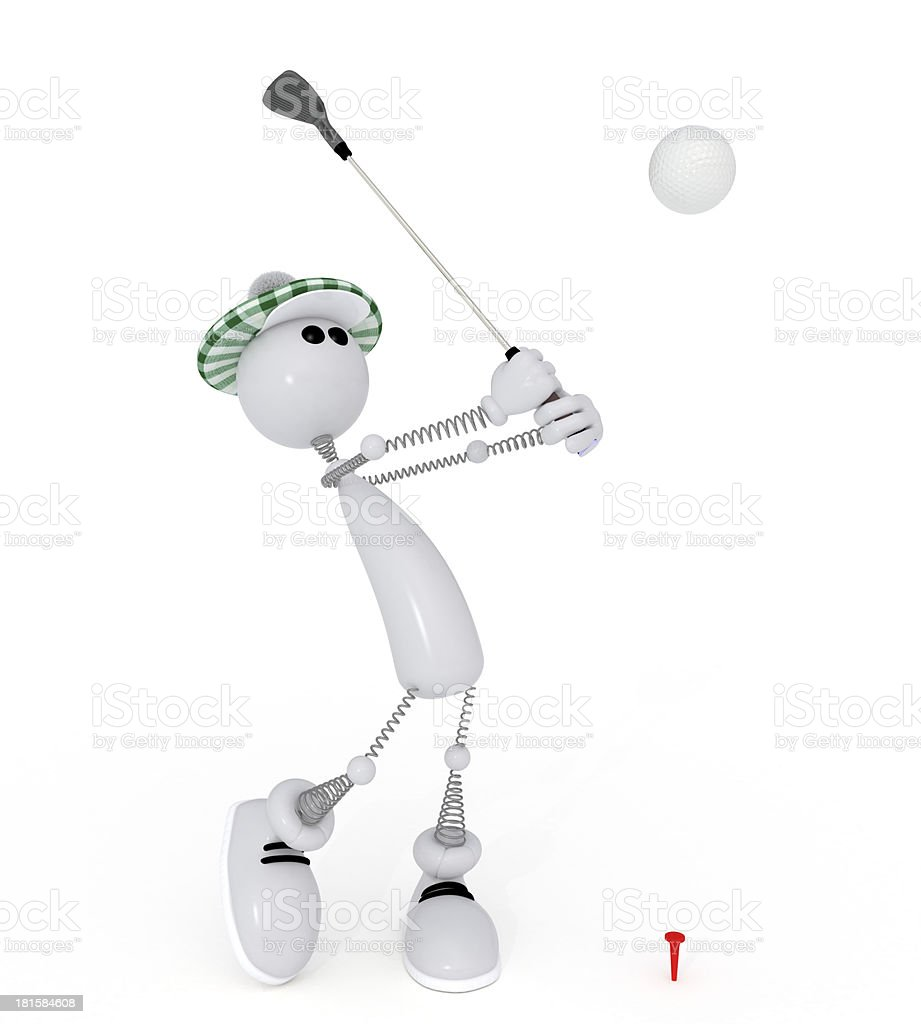 3d little man golfist. royalty-free stock photo