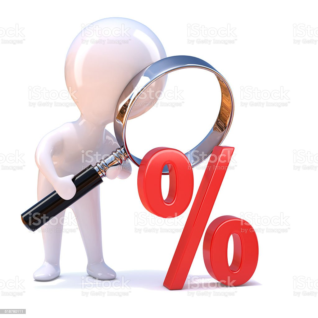 3d Little man looks through magnifying glass at percent sign stock photo