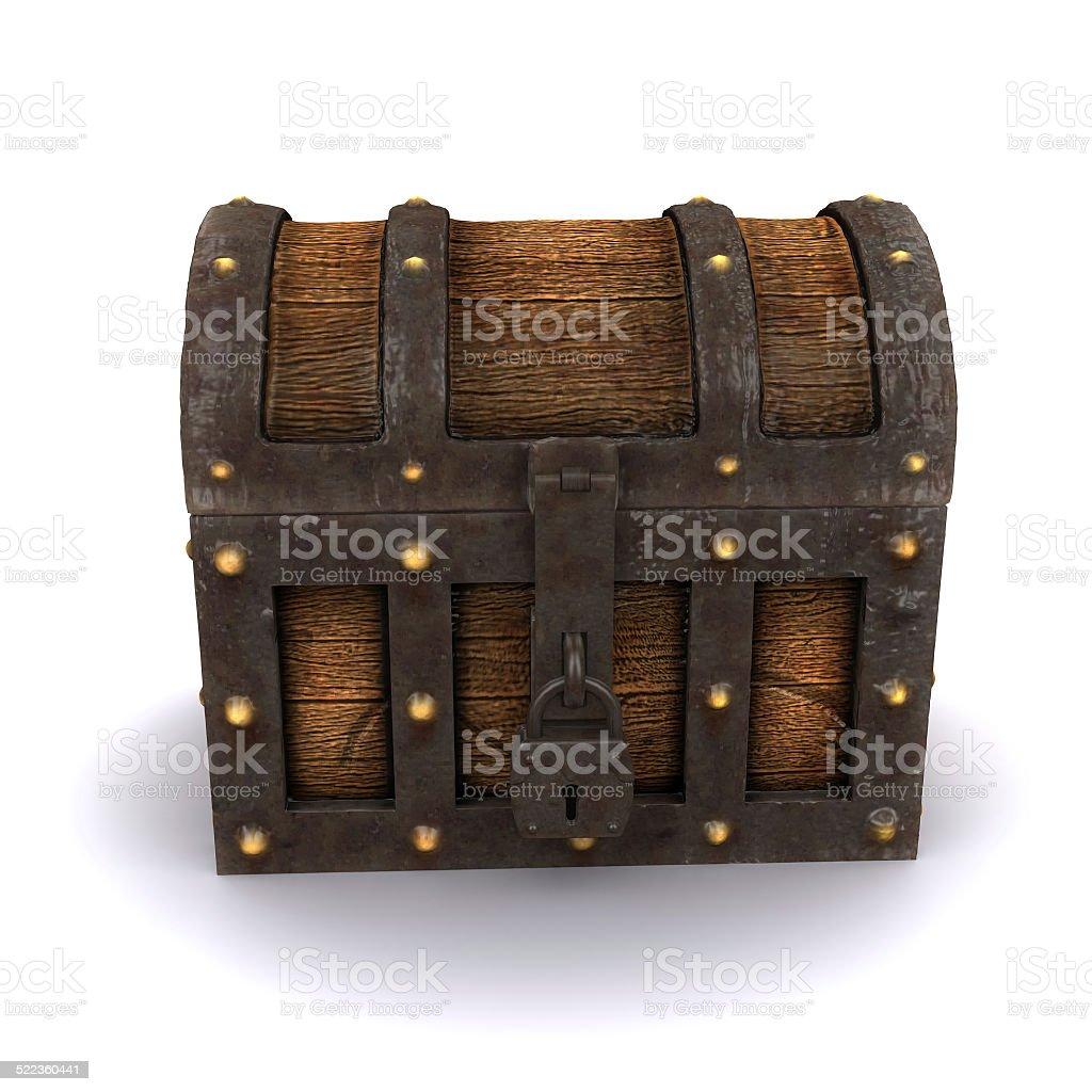 3d Locked treasure chest stock photo