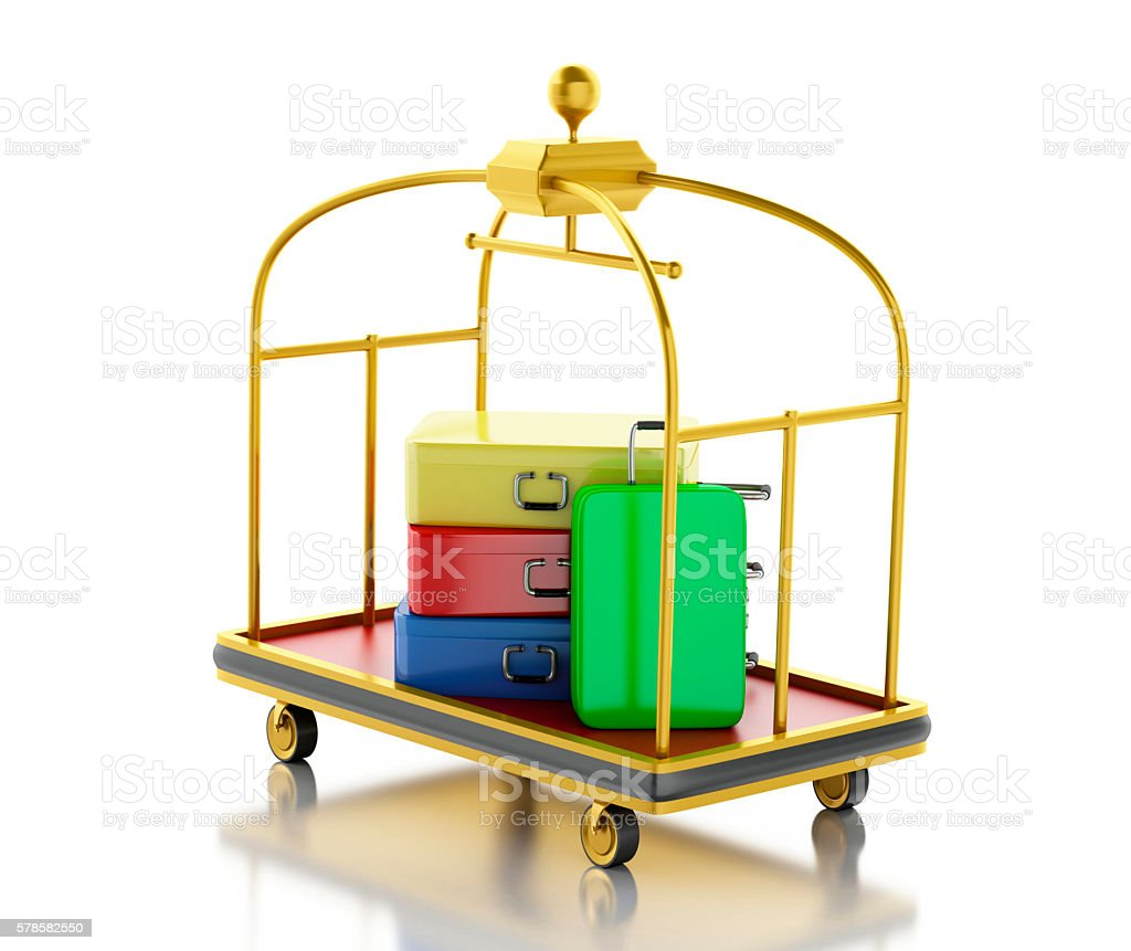 3d Luggage cart with colorful suitcases. stock photo