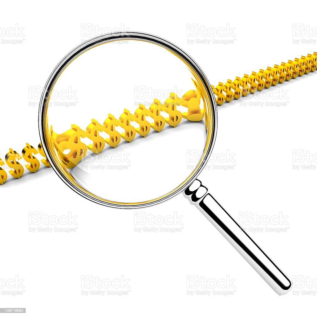 3d magnifier isolated on white. royalty-free stock photo