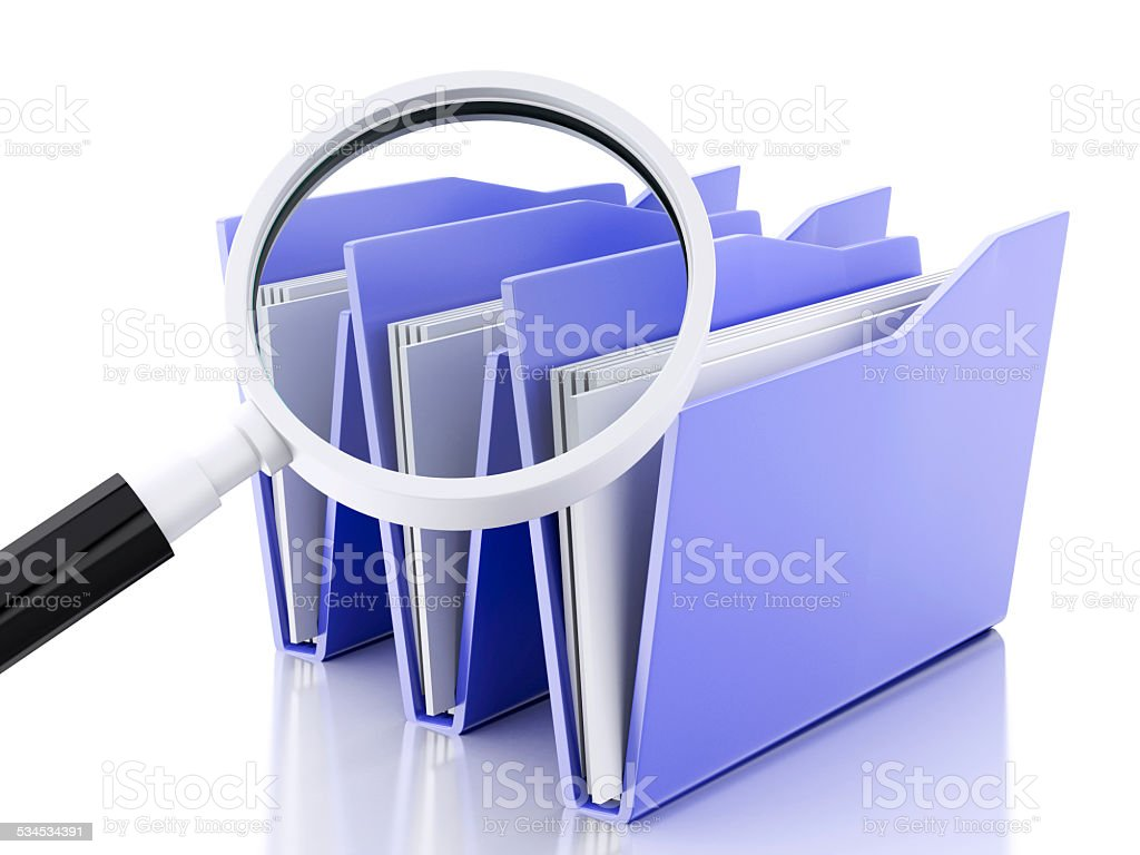 3d magnifying glass and computer files stock photo