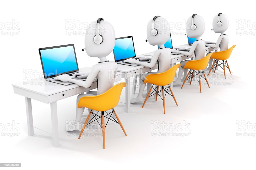 3d man and laptop, call center business concept stock photo