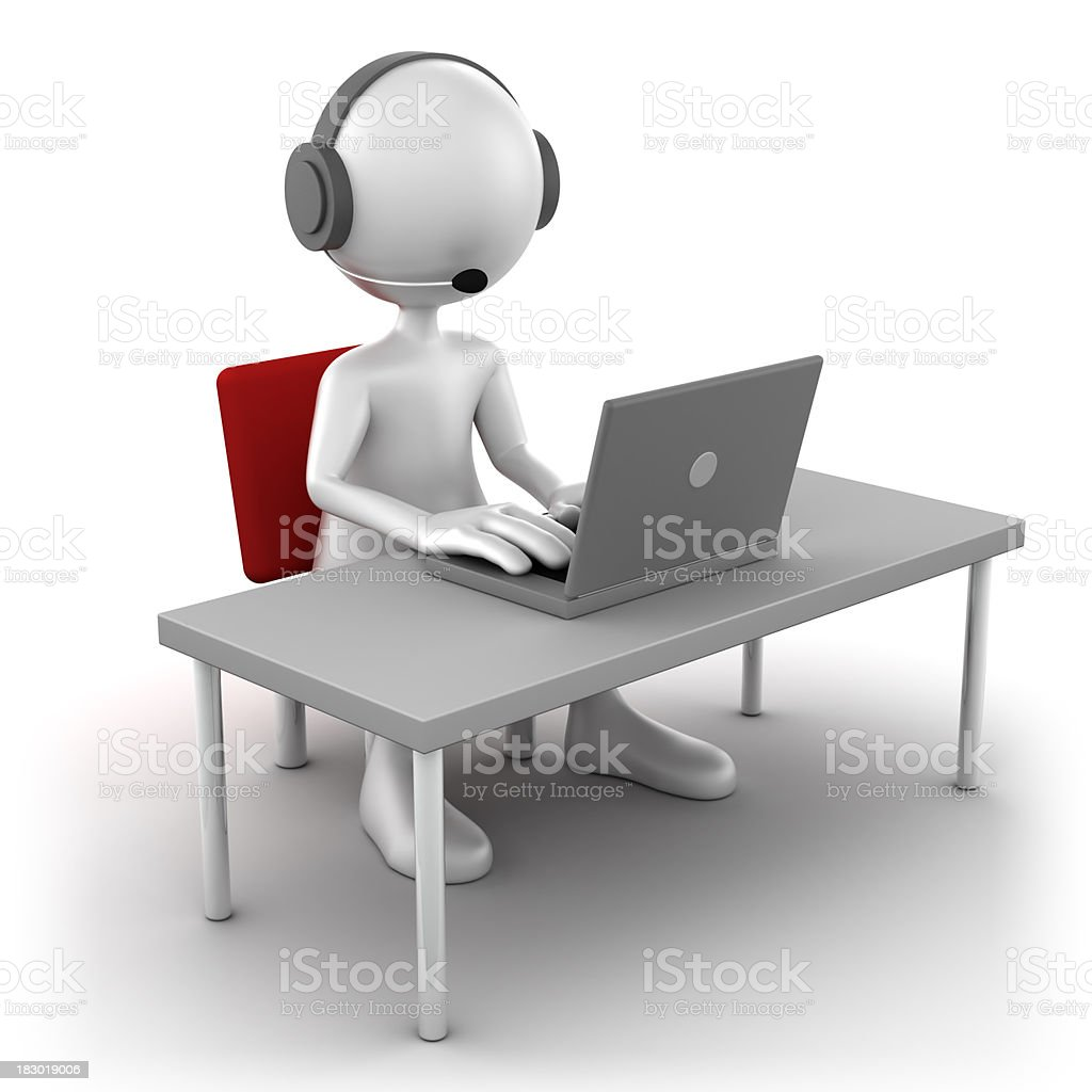 3d Man at support desk, isolated with clipping path royalty-free stock photo